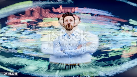 Businessman interacting with VR environment.