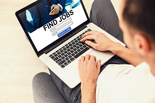 businessman internet online job search application concept - startseite stock-fotos und bilder