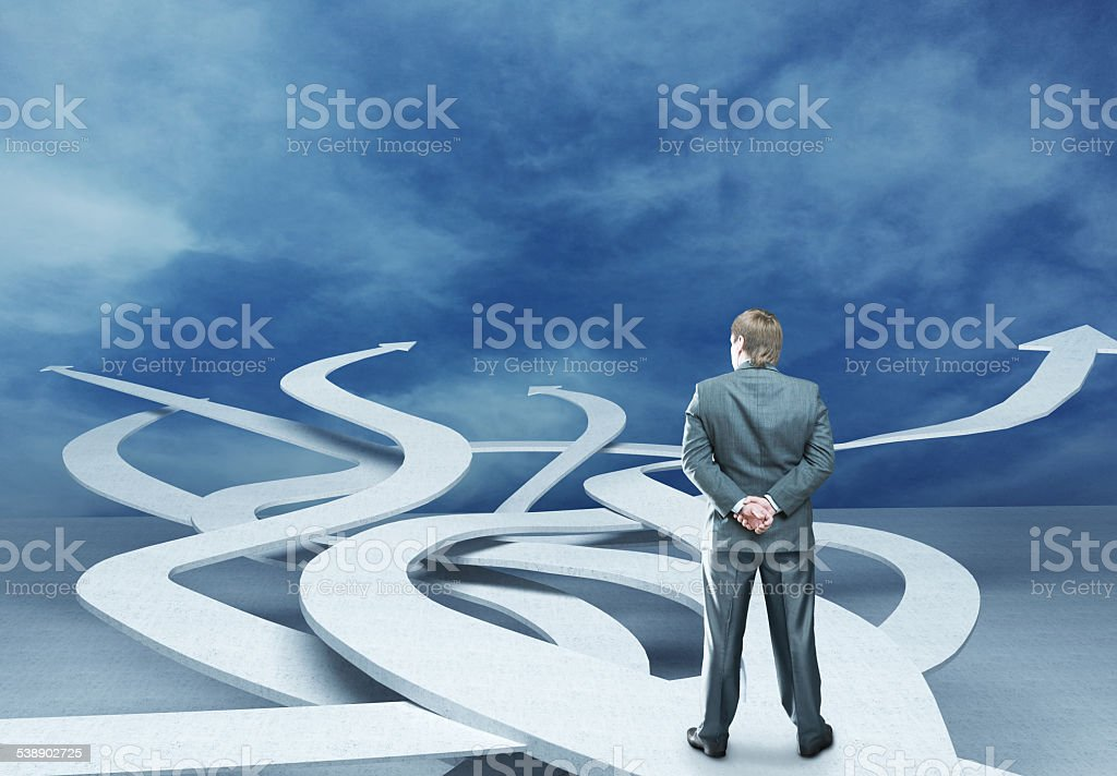 Businessman is choosing right way stock photo