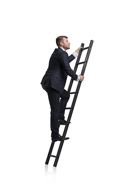 businessman is climbing to the career ladder - ladder stockfoto's en -beelden