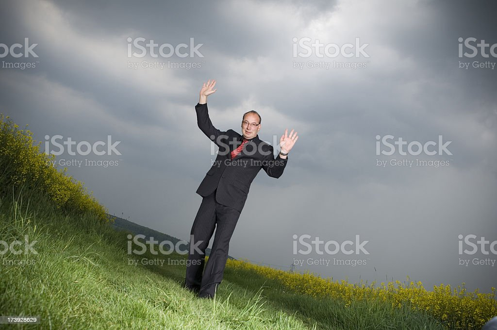 Businessman is giving up stock photo