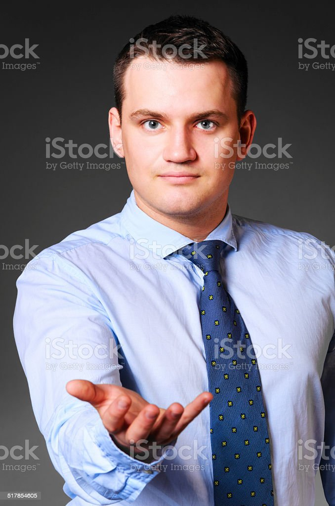 businessman is holding empty space stock photo