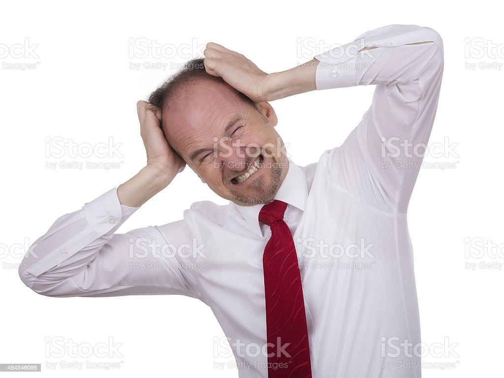 Businessman is horrified by something royalty-free stock photo