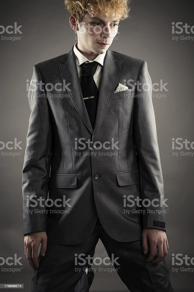 businessman is kneeling in depression royalty-free stock photo
