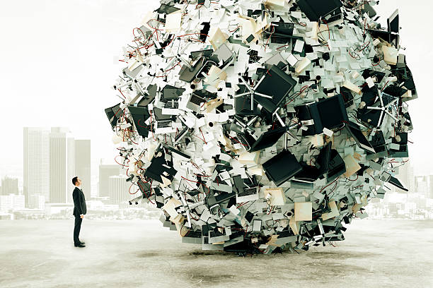 Businessman is looking at the big load of office work Businessman is looking at the big load of office work bureaucracy stock pictures, royalty-free photos & images