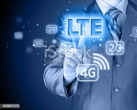 istock businessman is pushing his finger on lte button 533852325