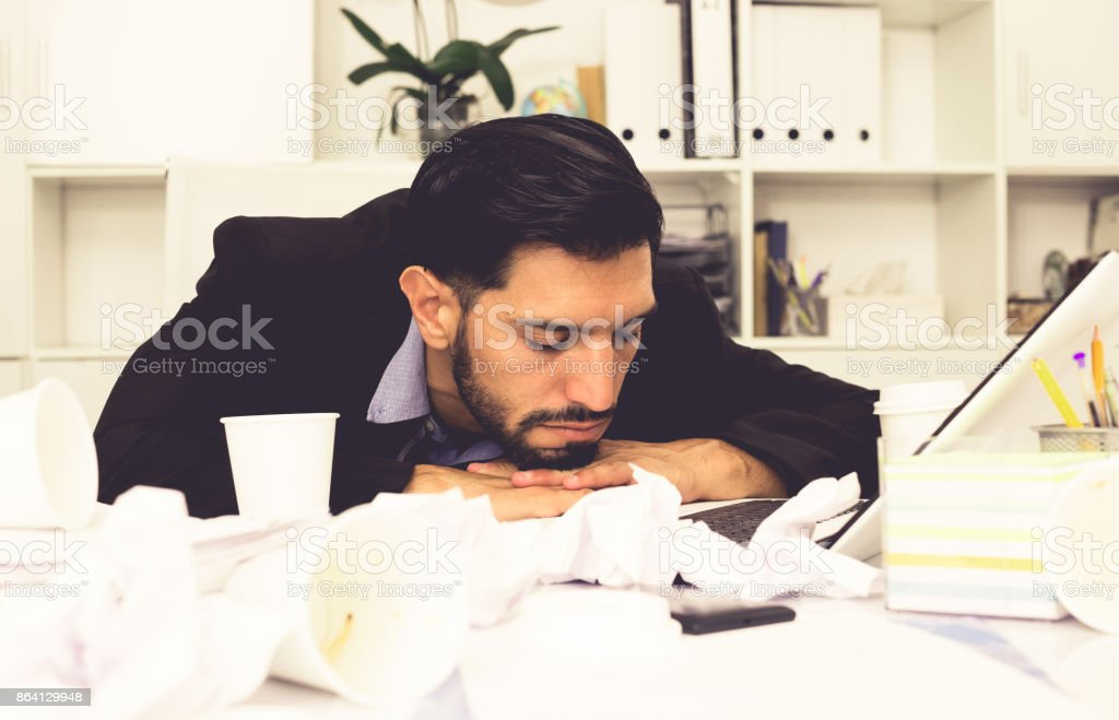 Businessman is resting after productive work day royalty-free stock photo