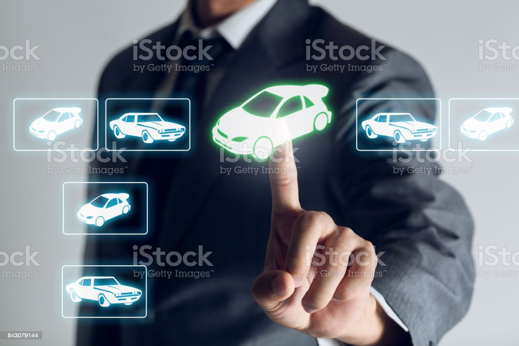 Businessman is shopping online to choose a cars to buy about internet of thing concept, Business background. stock photo