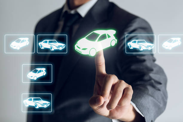 Businessman is shopping online to choose a cars to buy about internet of thing concept, Business background. Businessman is shopping online to choose a cars to buy about internet of thing concept, Business background. car salesperson stock pictures, royalty-free photos & images