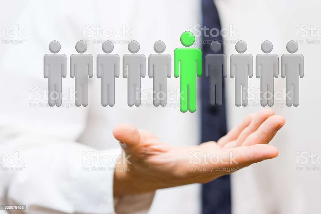 businessman is showing selection of top staff, employment concept stock photo