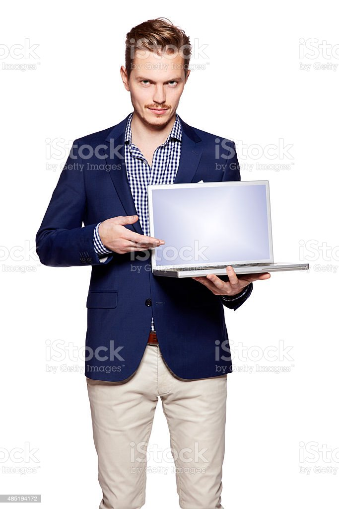Businessman is showing something on a computer stock photo