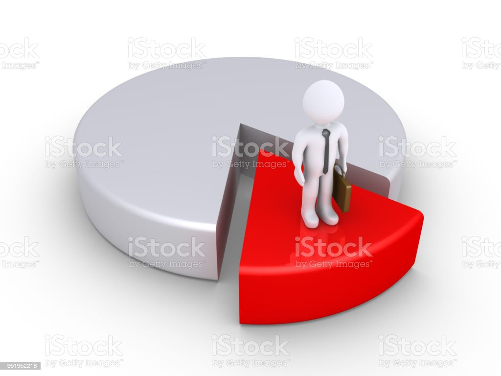 Businessman is the minority on a pie chart stock photo