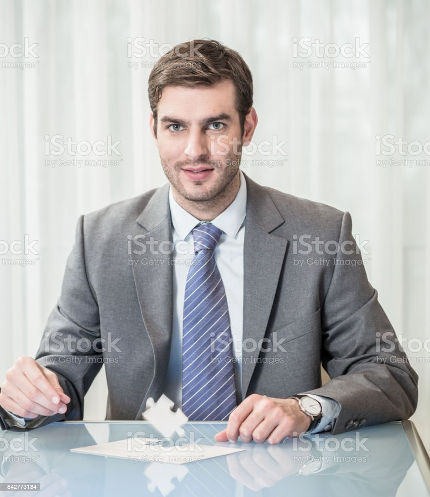 Businessman is thiniking about the solution stock photo