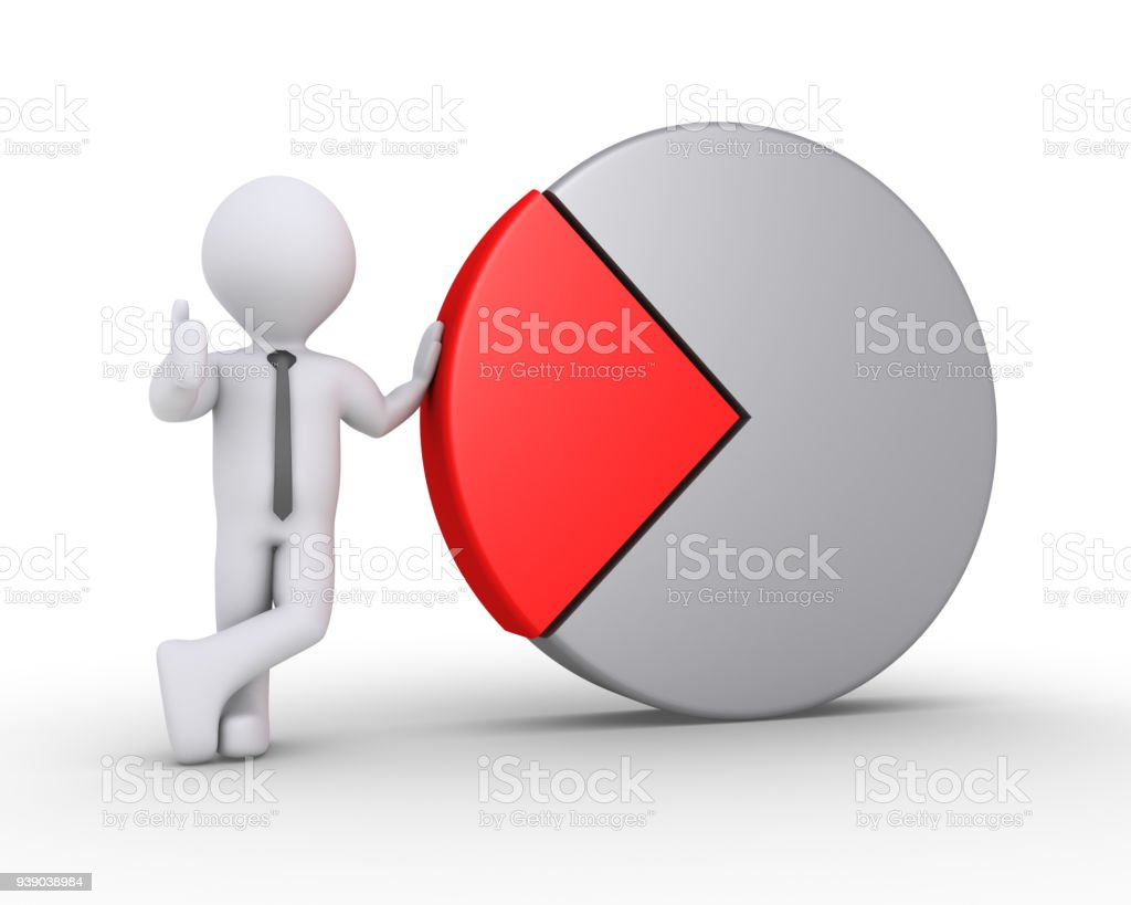 Businessman is with pie chart stock photo