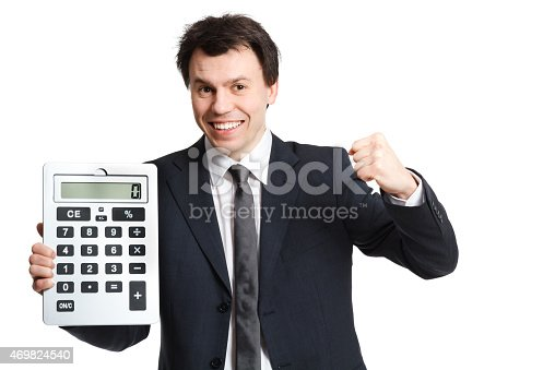 istock businessman isolated on white with big calculator 469824540