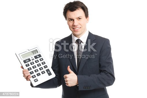 istock businessman isolated on white with big calculator 473750224