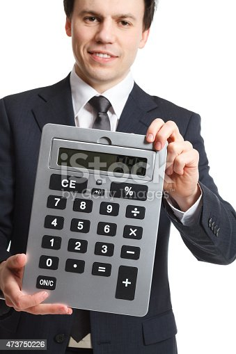 istock businessman isolated on white with big calculator 473750226