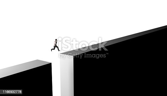 istock Businessman jumping from obstacles of life 1166932778