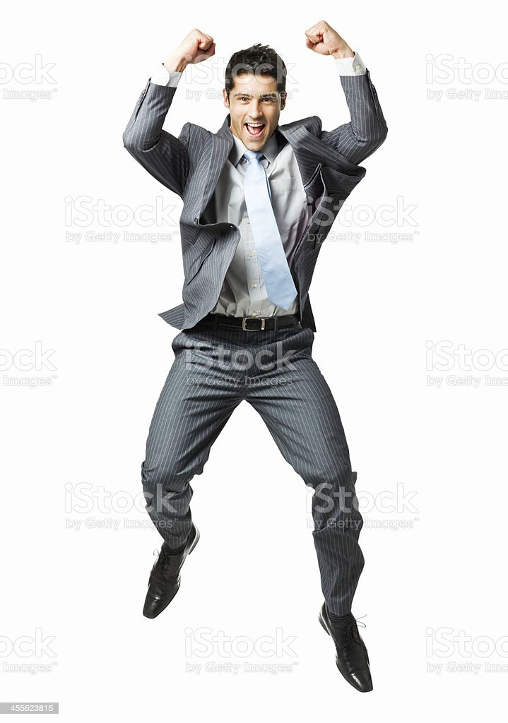 Businessman Jumping in Celebration - Isolated stock photo