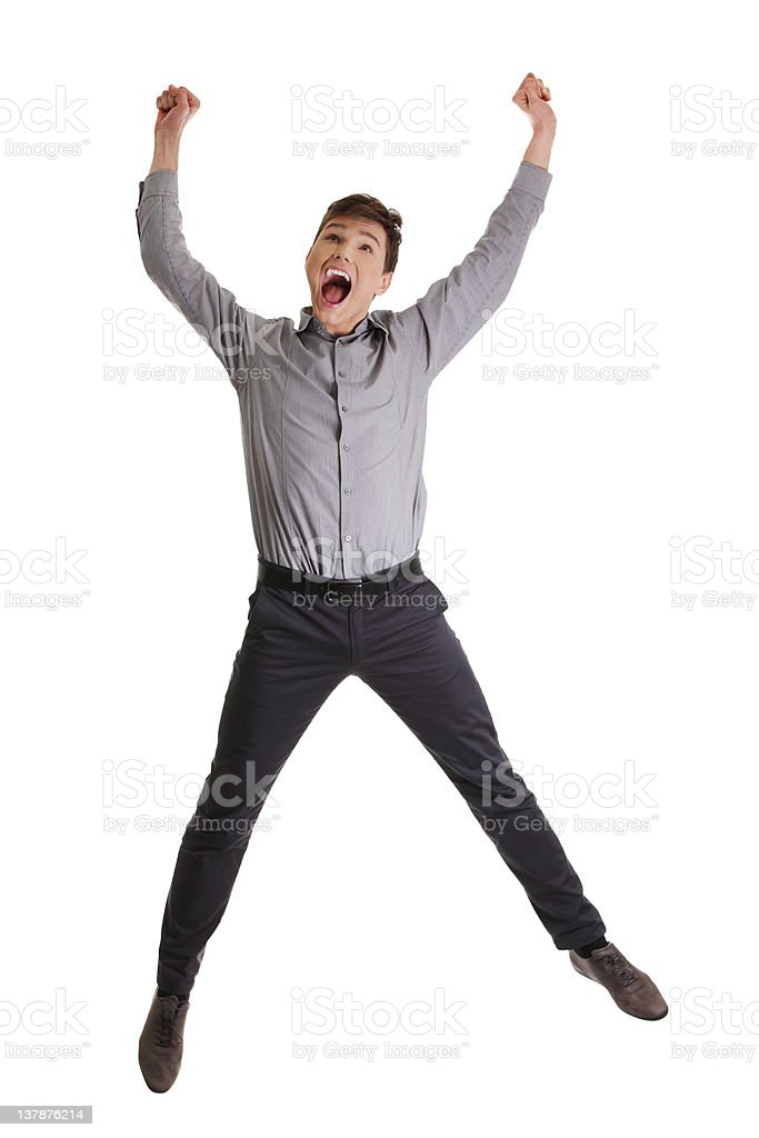 Businessman Jumping in Celebration royalty-free stock photo