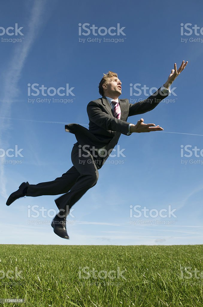 Businessman Jumping Making a Save in the Meadow royalty-free stock photo