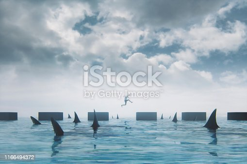 Businessman jumping over obstacles. This is entirely 3D generated image.