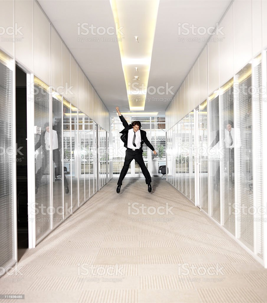 Businessman jumping royalty-free stock photo