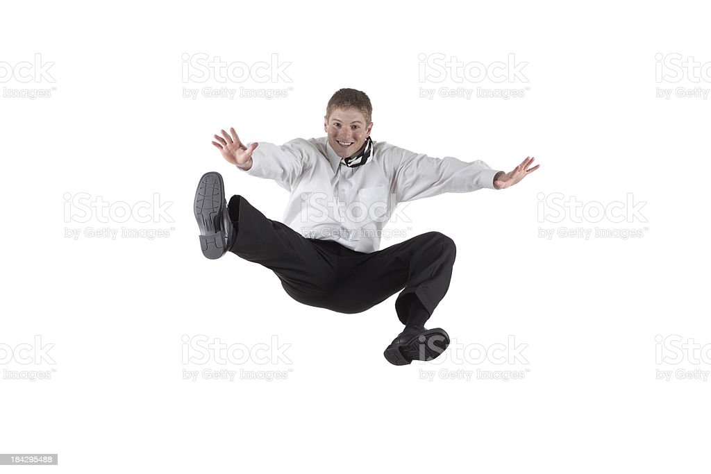 Businessman jumping stock photo