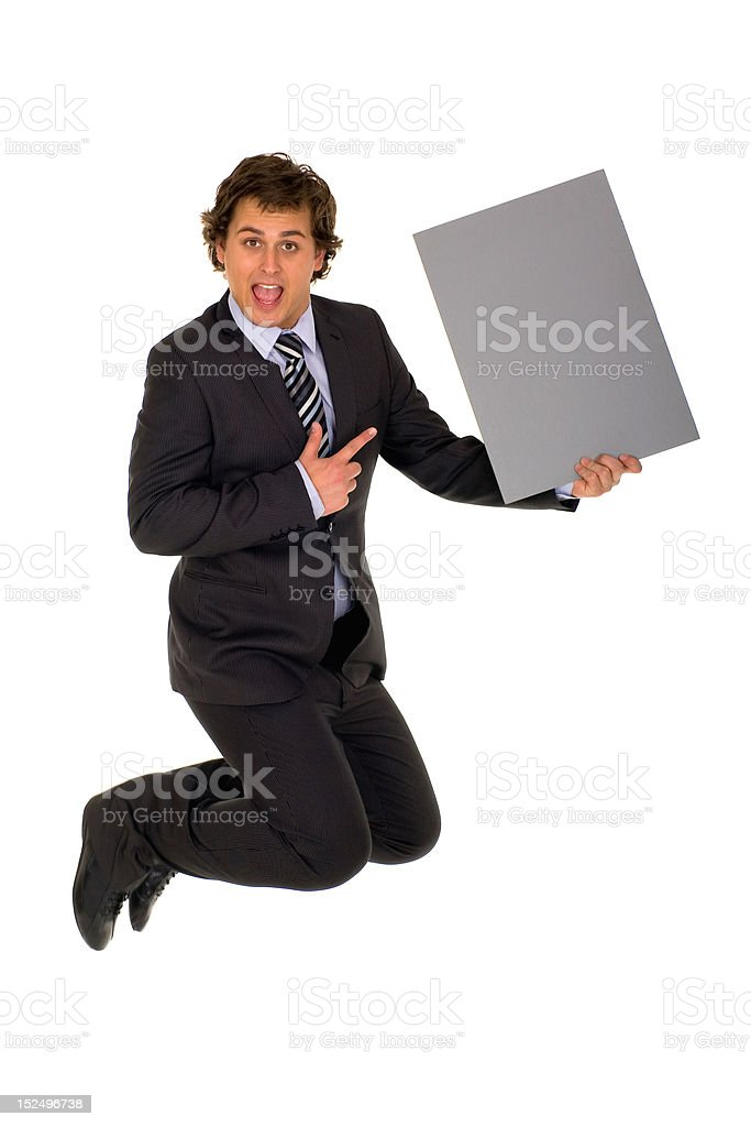 Businessman jumping with poster royalty-free stock photo