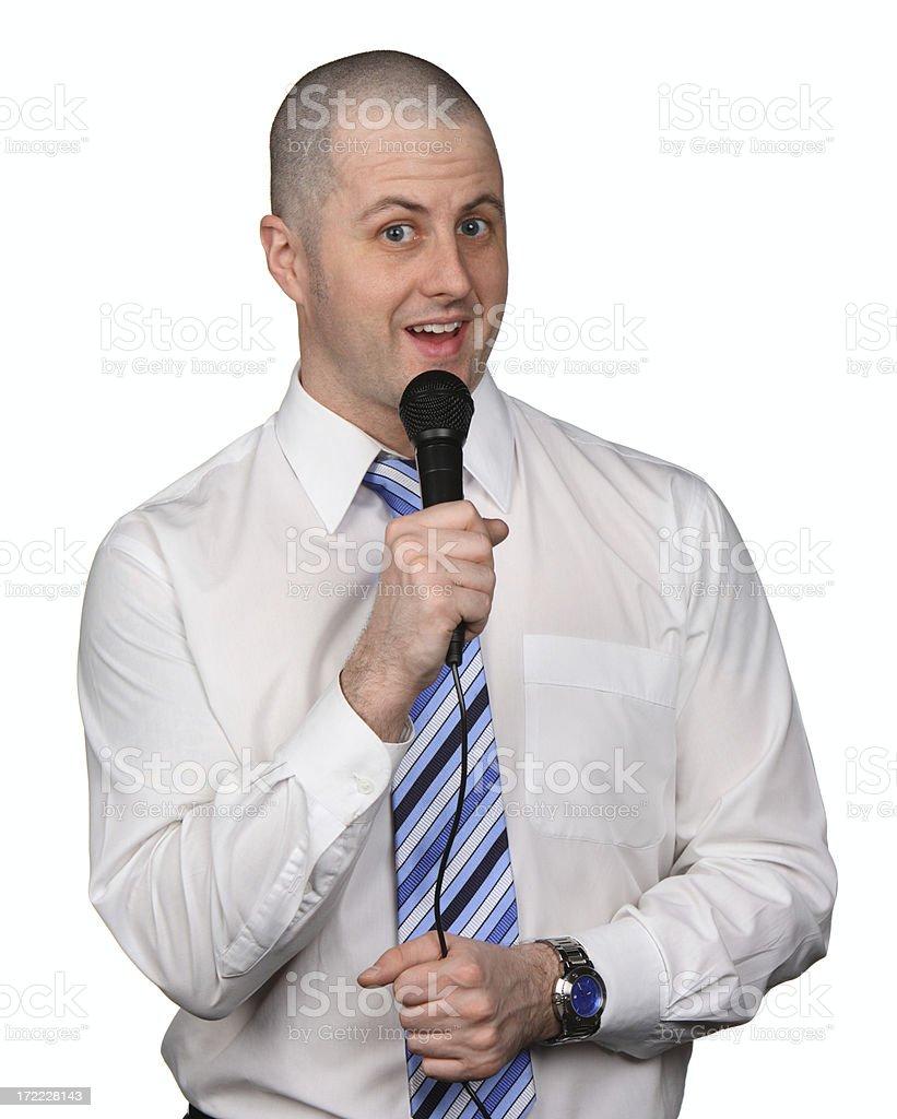 Businessman Karaoke stock photo