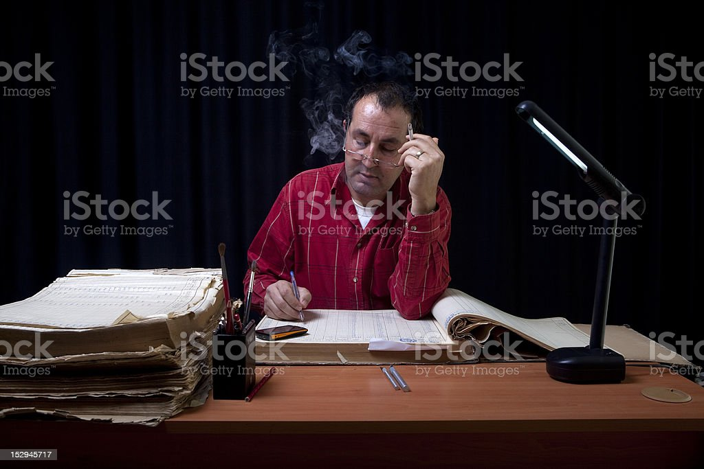 Businessman keeping records stock photo