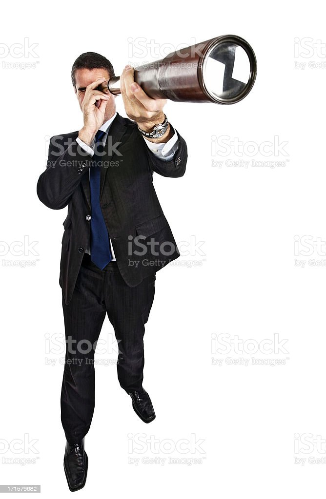 Businessman keeps an eye on the future stock photo