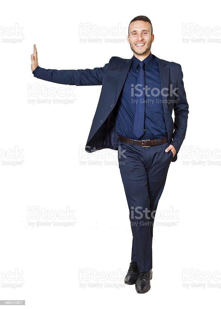 businessman leaning on something stock photo