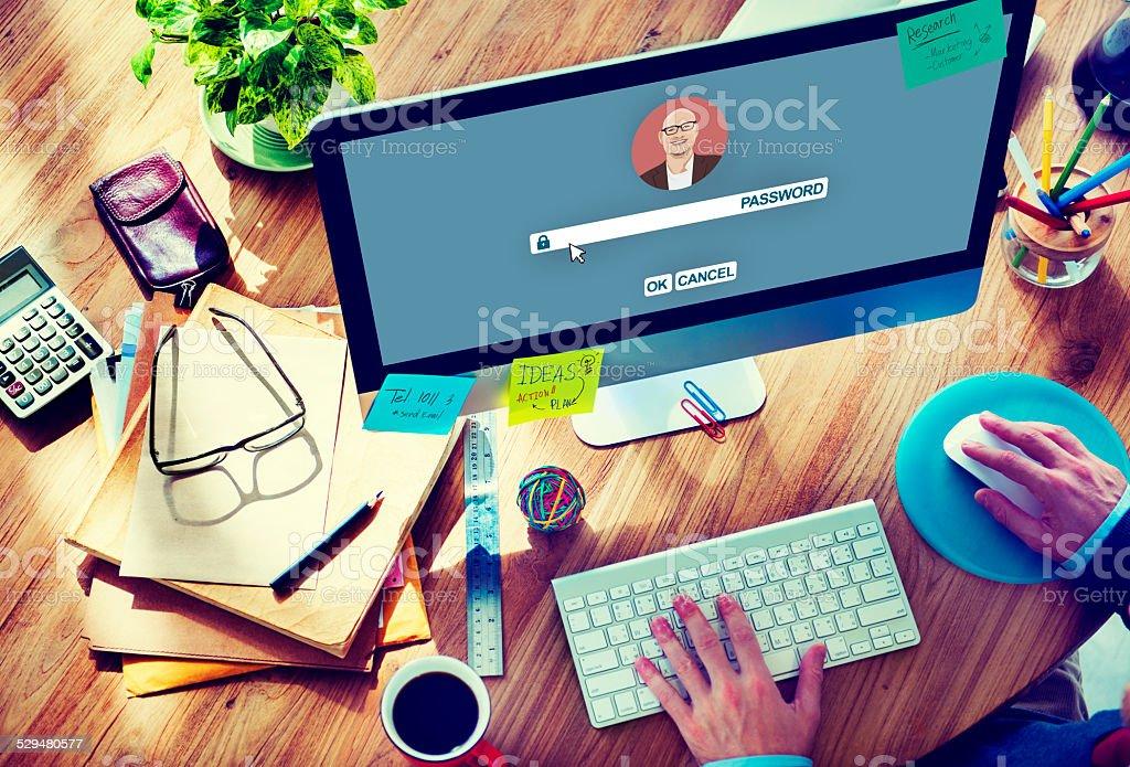 Businessman Log In Computer Password Concept stock photo