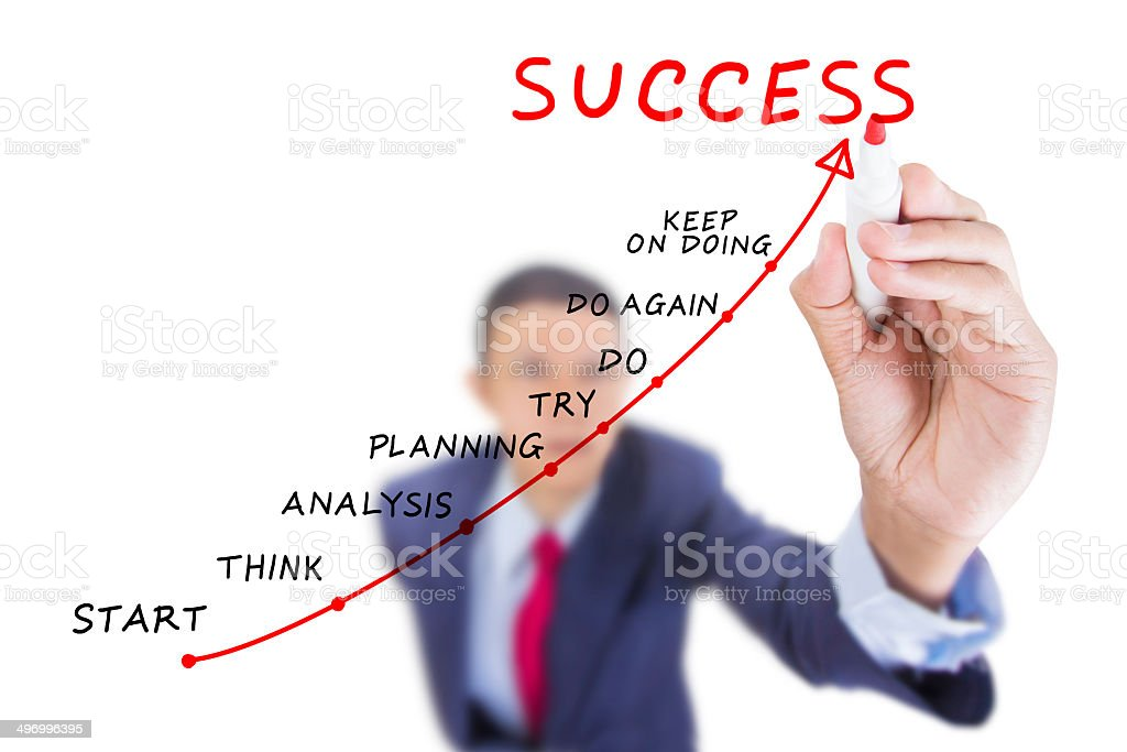 Businessman look up and writing step to success stock photo