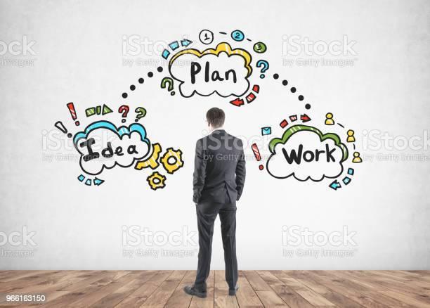 Affärsman Tittar På Business Plan Ikoner-foton och fler bilder på Affärsman