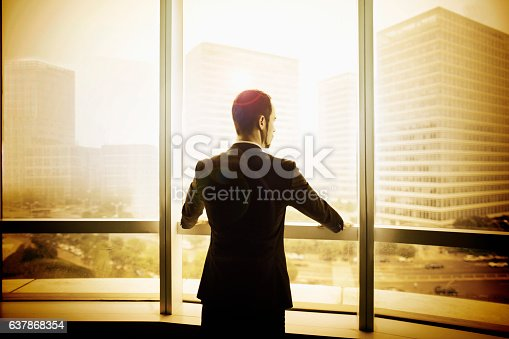 1068588904 istock photo Businessman looking at city from office window 637868354