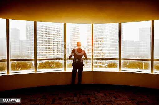1068588904 istock photo Businessman looking at city in modern office 637867756