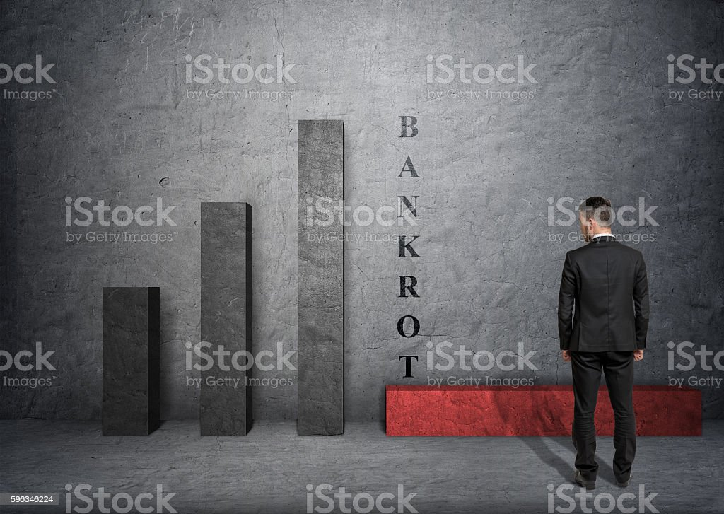 Businessman looking at fallen bar of the graph with 'bankort Lizenzfreies stock-foto
