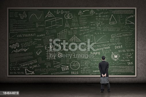 istock Businessman looking at hand drawn chalkboard 184644619