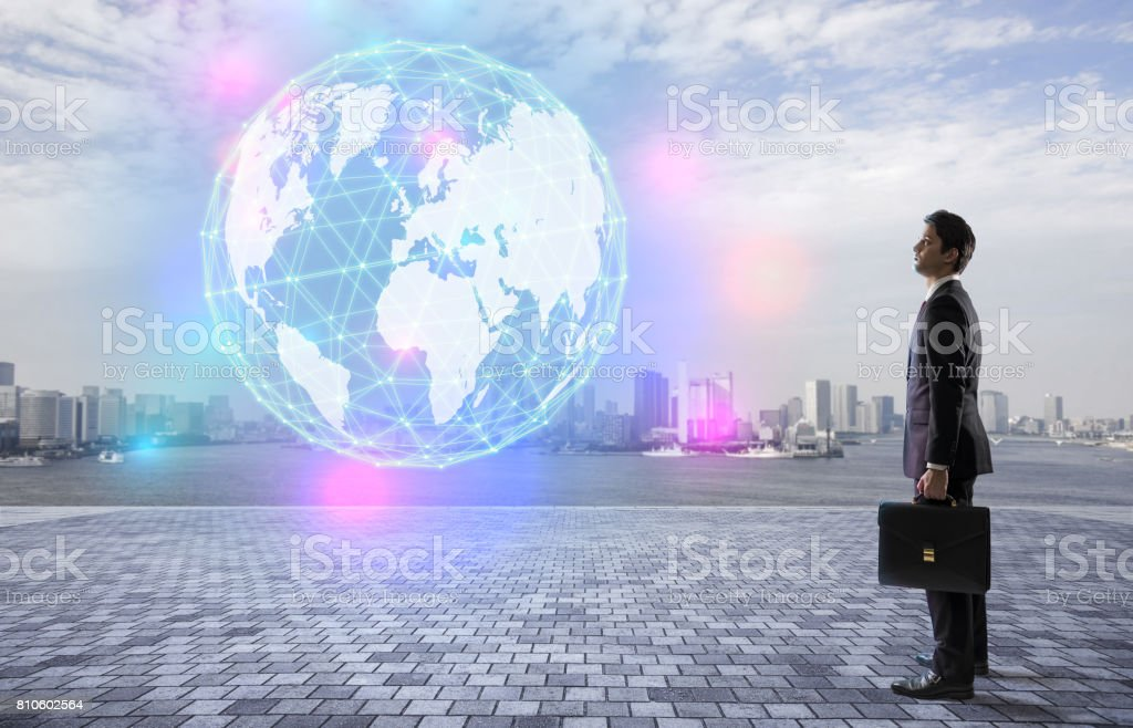 businessman looking at the world map stereoscopic vision, worldwide...