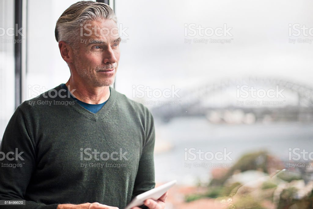 Businessman looking at view with the digital tablet in office stock photo
