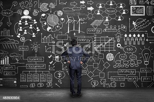 istock Businessman looking blackboard - Idea Concept 483930934