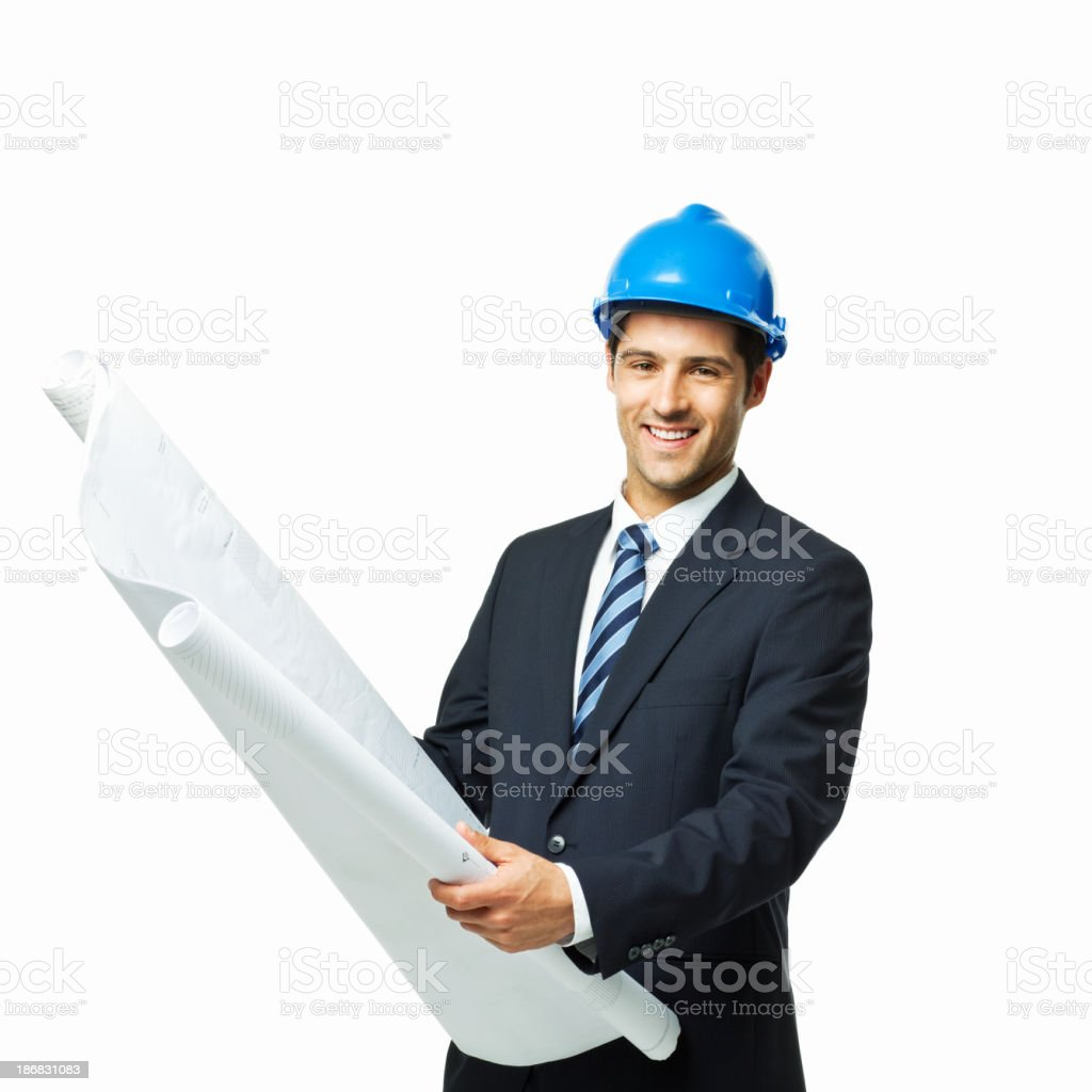 Businessman Looking Over Blueprints - Isolated royalty-free stock photo