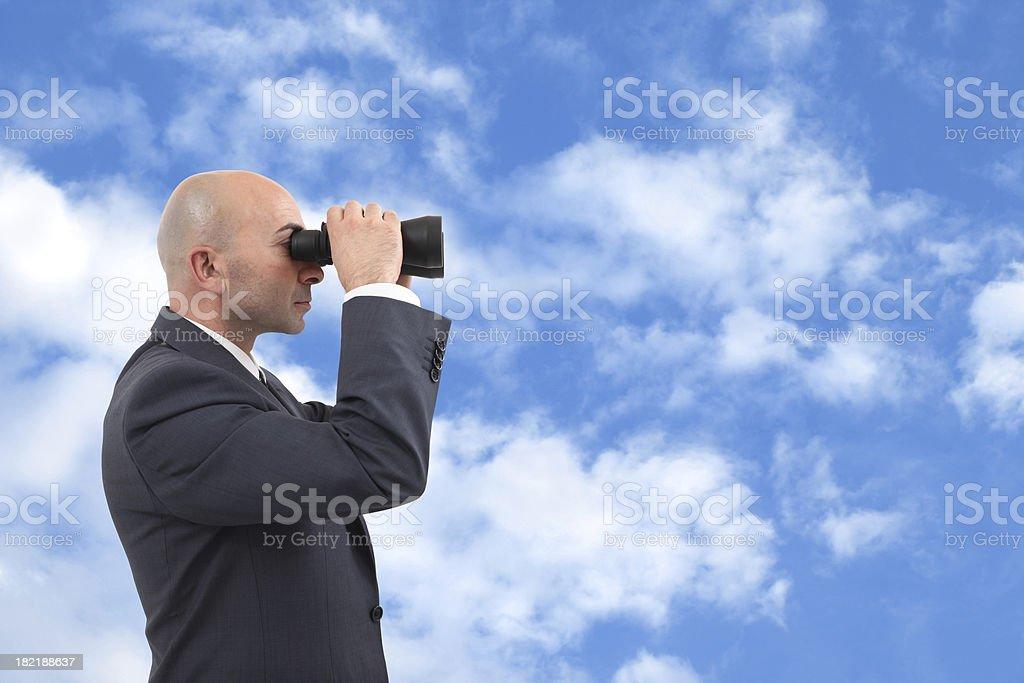 Businessman Looking Through a Binoculars royalty-free stock photo