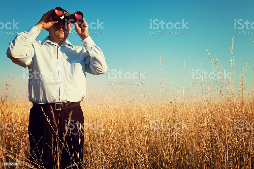 Businessman Looking Through A Binoculars royalty-free stock photo