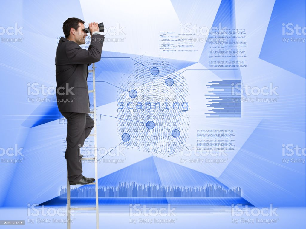 Businessman looking through binoculars to holographic finger print stock photo
