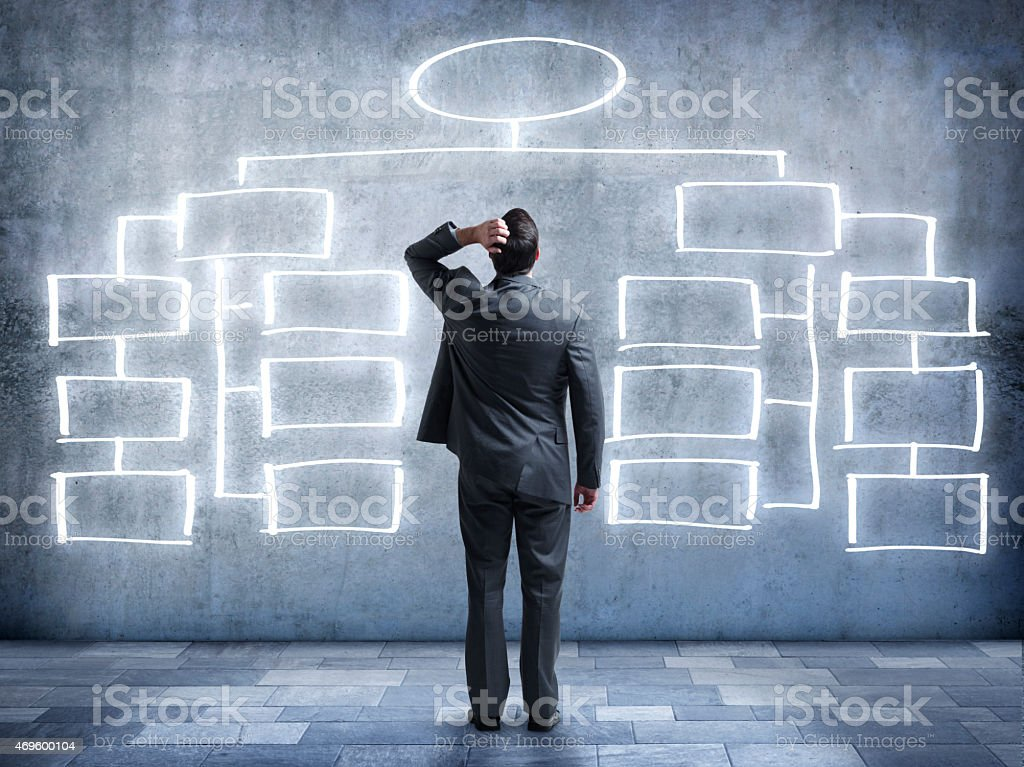 Businessman looking up at flow chart on wall stock photo