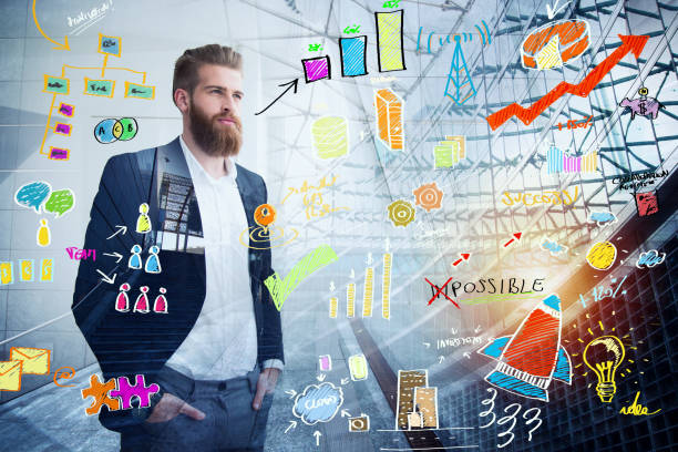 Businessman looks far for the future with a project sketch in overlay. Concept of vision and investment - foto stock