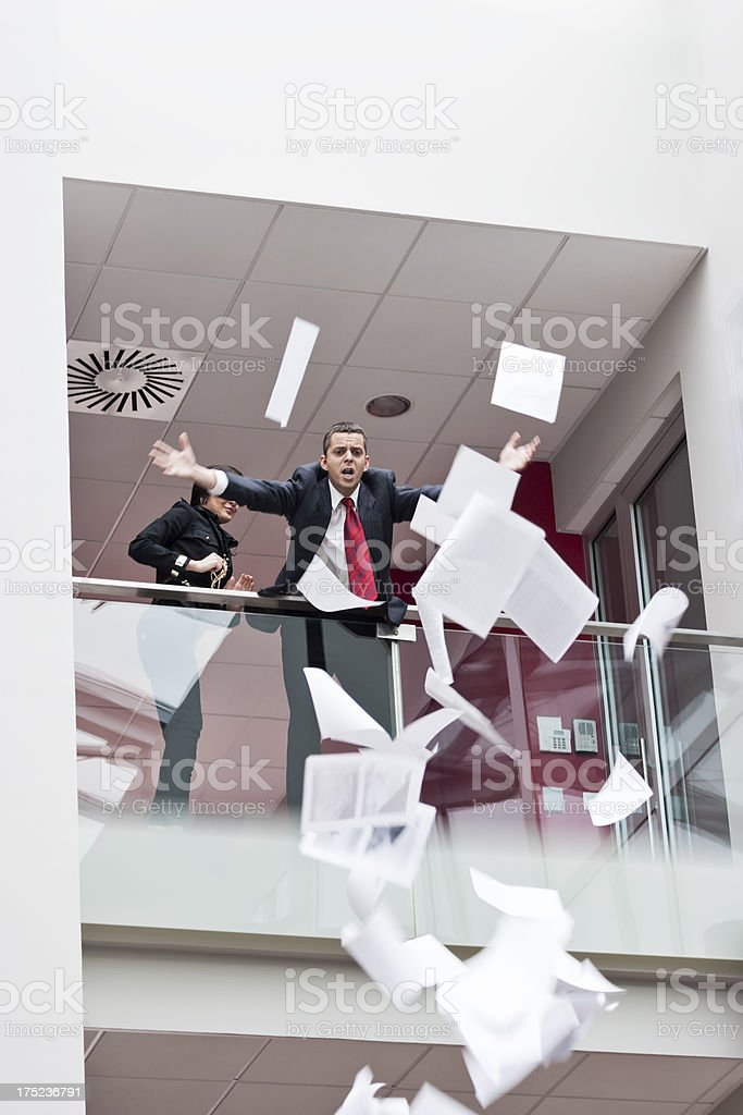 Businessman losing the documents royalty-free stock photo